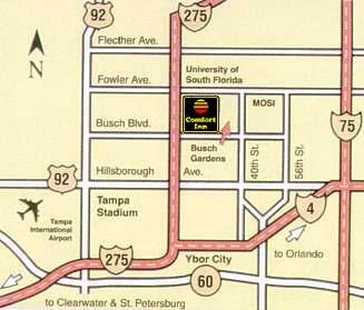 Comfort Inn Tampa Busch Gardens Map, Driving Directions: